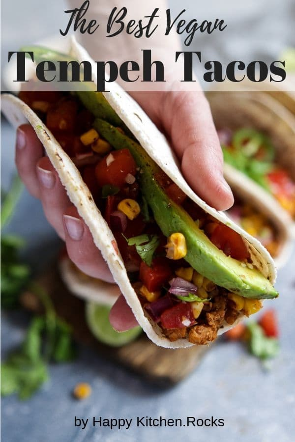 Tempeh Tacos in a Hand Pinterest