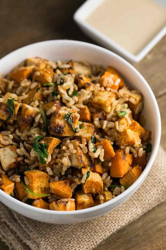 Tofu Sweet Potato Bowl with Tahini Sauce