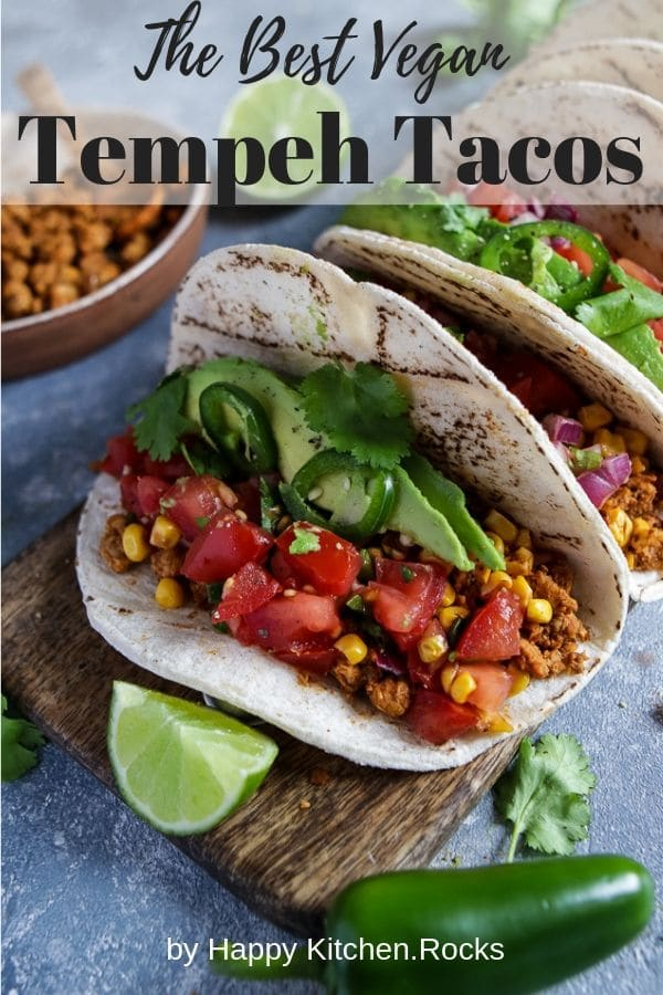 Vegan Tempeh Tacos Pinterest Image