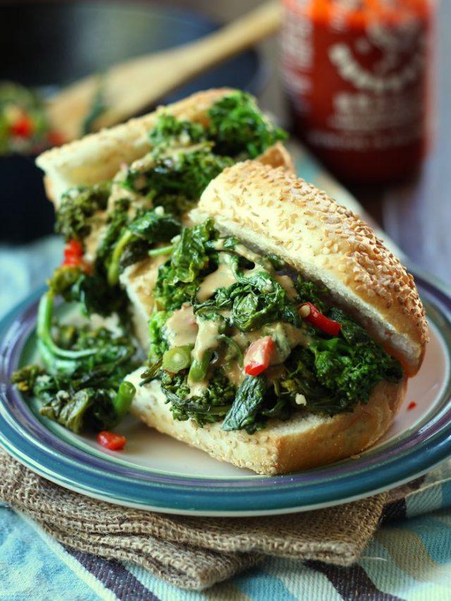 Hot Garlicky Broccoli Rabe Sandwich with Smoky Tahini Cheese Sauce