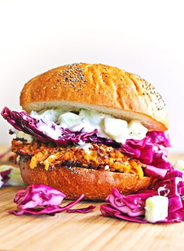 Carrot Tahini Quinoa Veggie Burger With Tzatziki and Purple Slaw