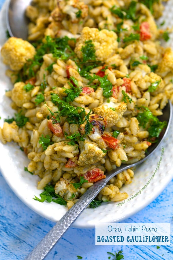 Vegan Roasted Cauliflower Salad with Orzo and Roasted Red Peppers