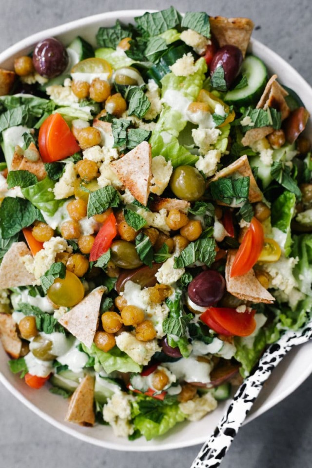 Greek Chopped Salad with Cumin Fried Chickpeas, Tahini Mint Dressing,