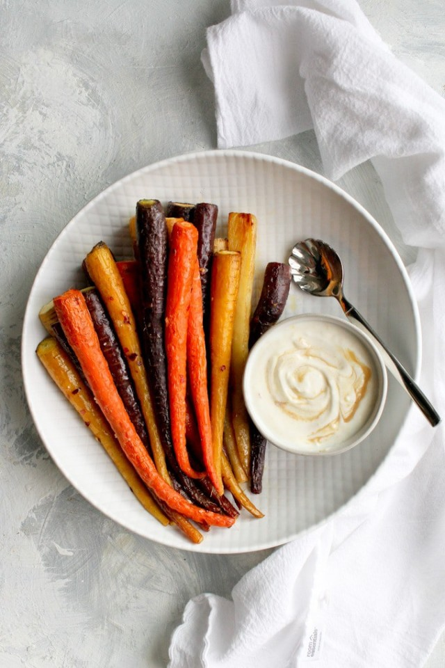Roasted Whole Carrots with Tahini Sauce