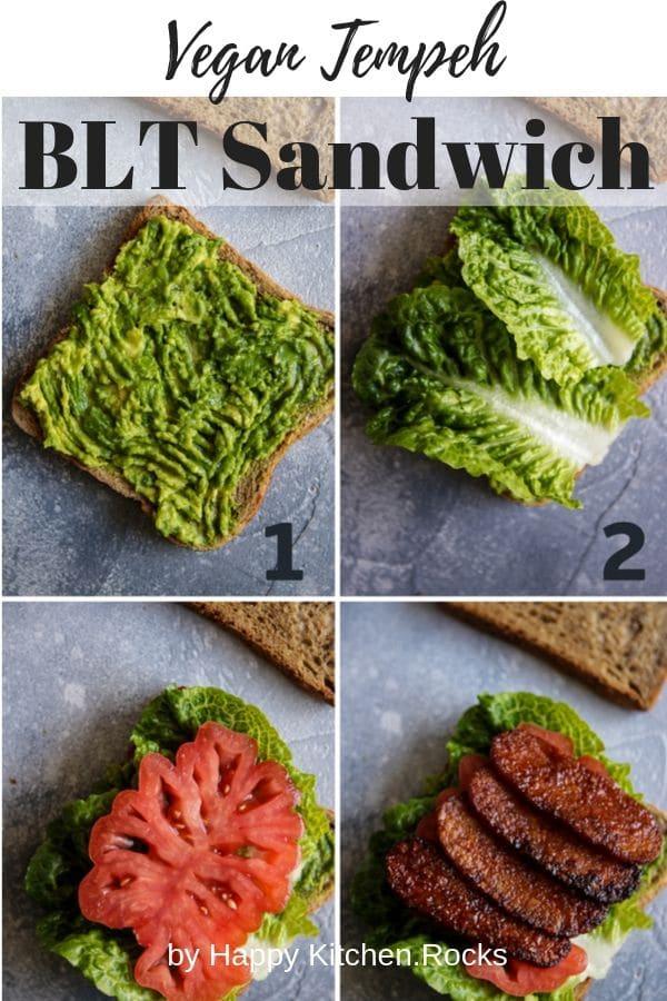 Vegan Tempeh BLT Sandwich Collage