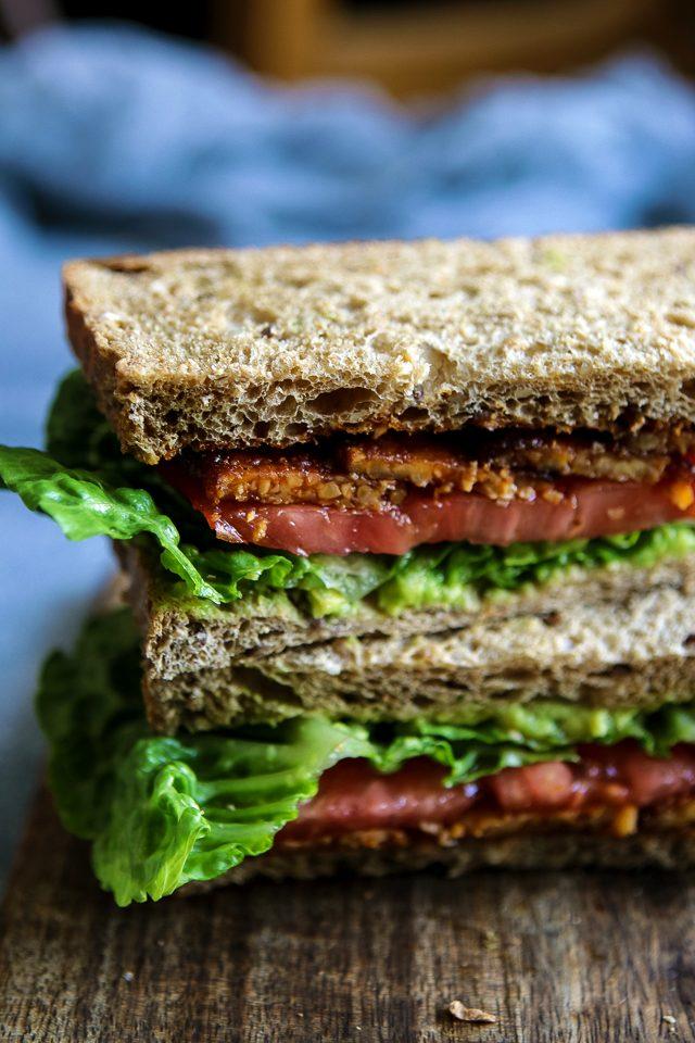 Vegetarian BLT Sandwich Closeup