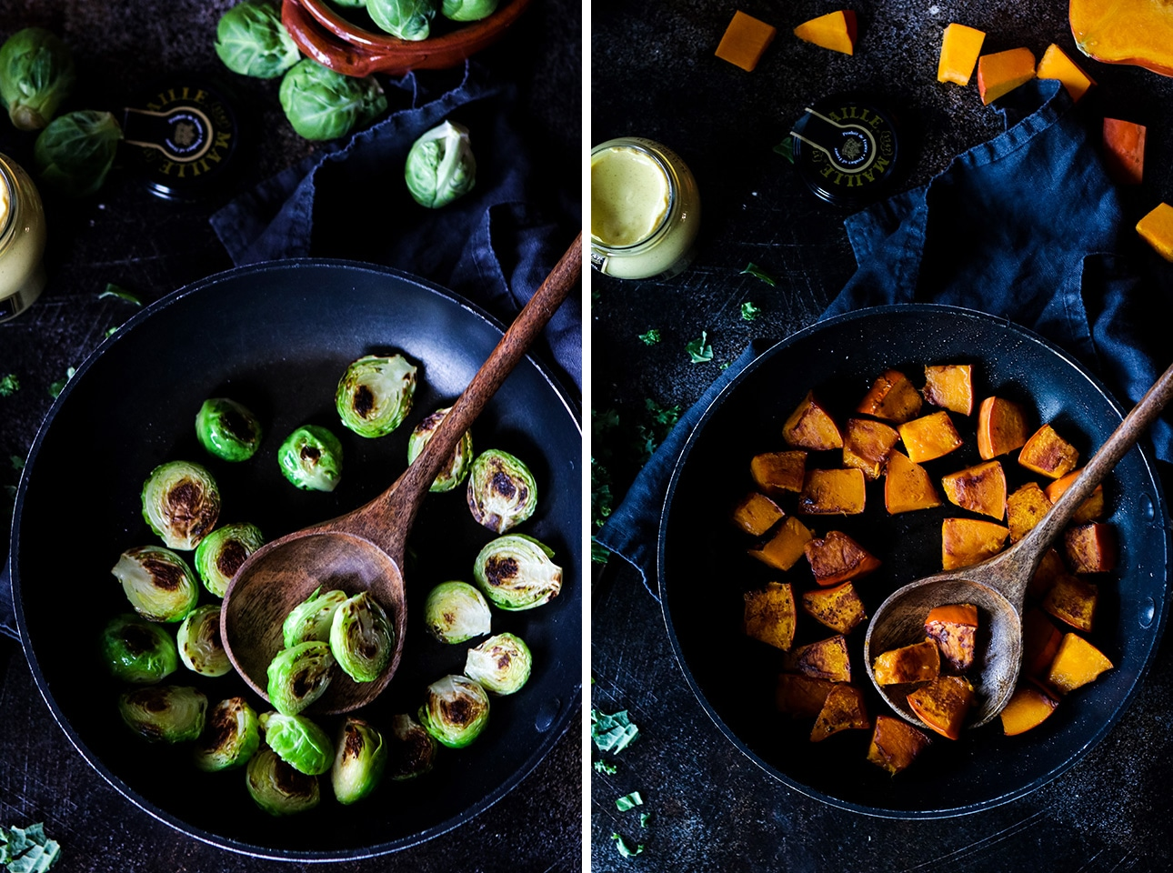 Brussels Sprouts And Diced Pumpkin in a Skillet