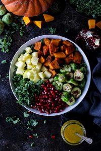 Vegan Fall Harvest Salad in a Bowl.