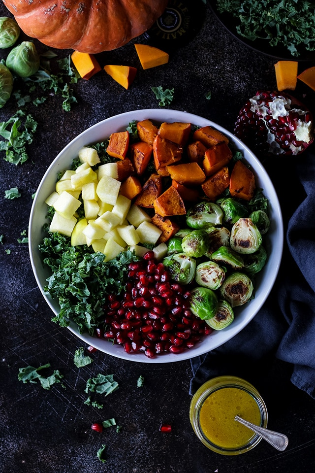Vegan Fall Harvest Salad in a Bowl