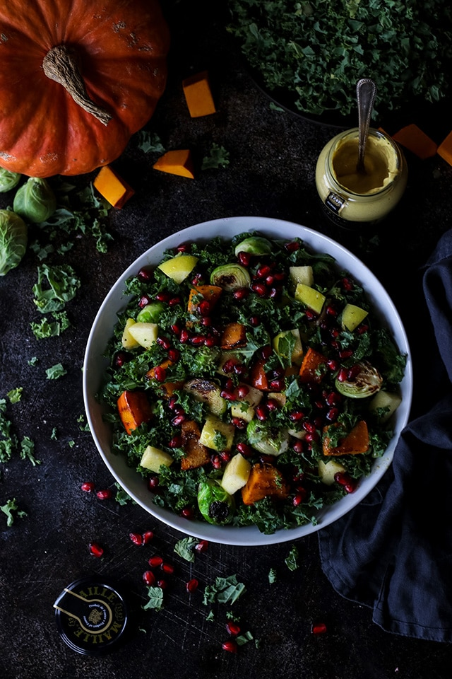 Vegan Fall Harvest Salad with Pumpkin and Kale in a Bowl