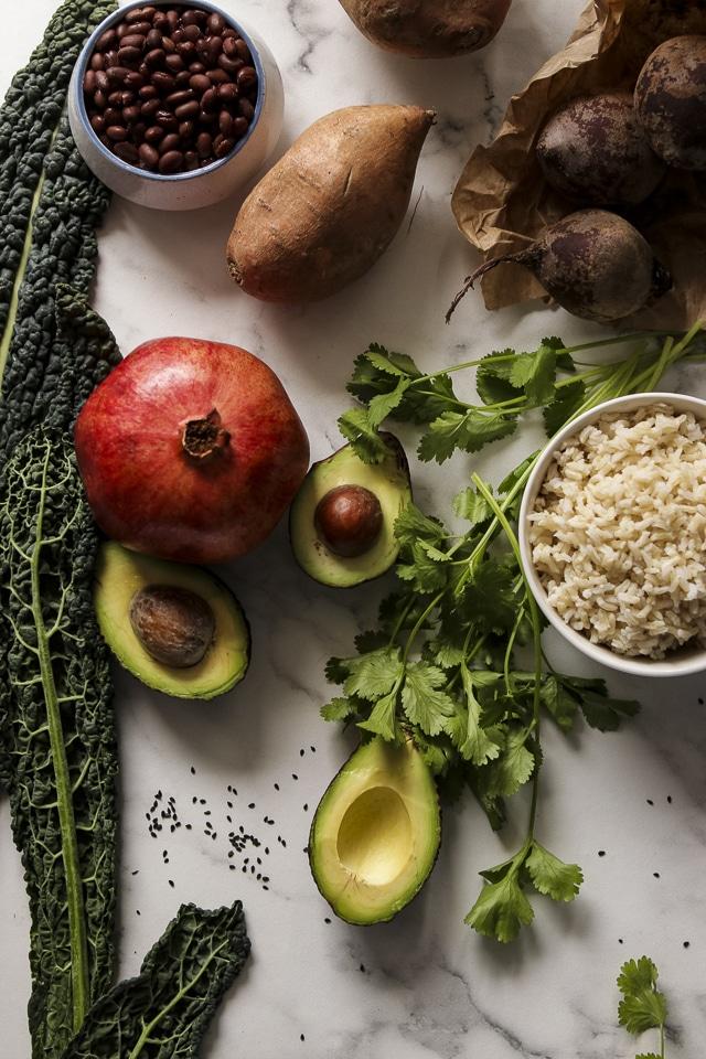 Ingredients for Vegan Buddha Bowls with Kale