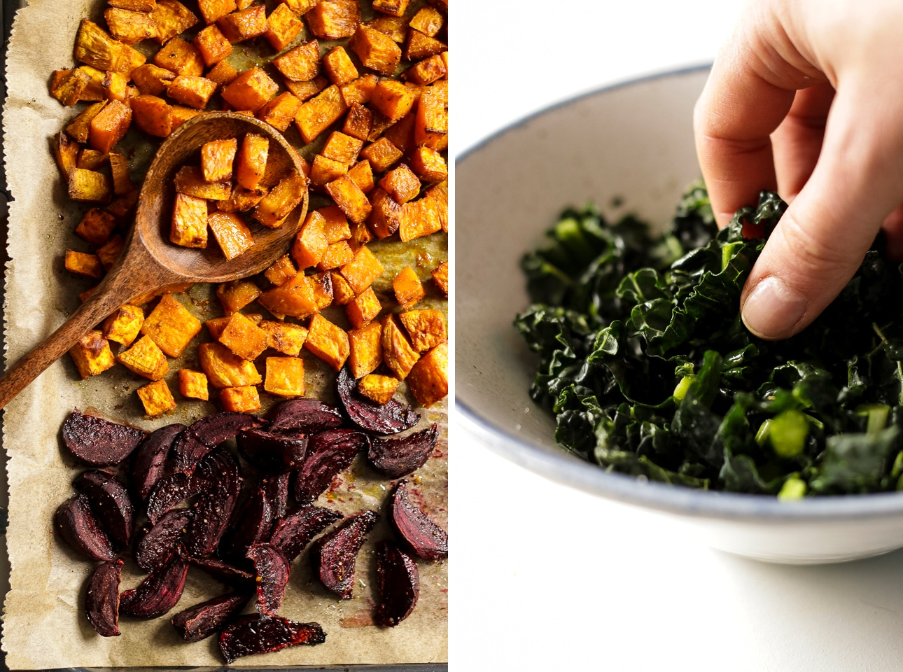Roasted Sweet Potatoes and Red Beets Next to a Bowl of Kale Collage