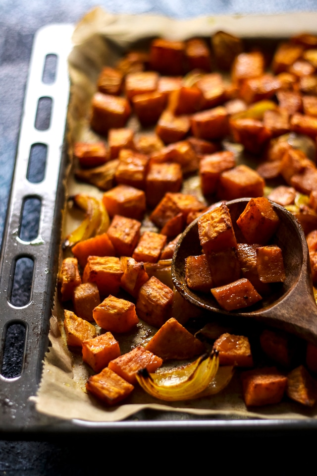 Roasted Sweet Potatoes and Onions in a Baking Dish