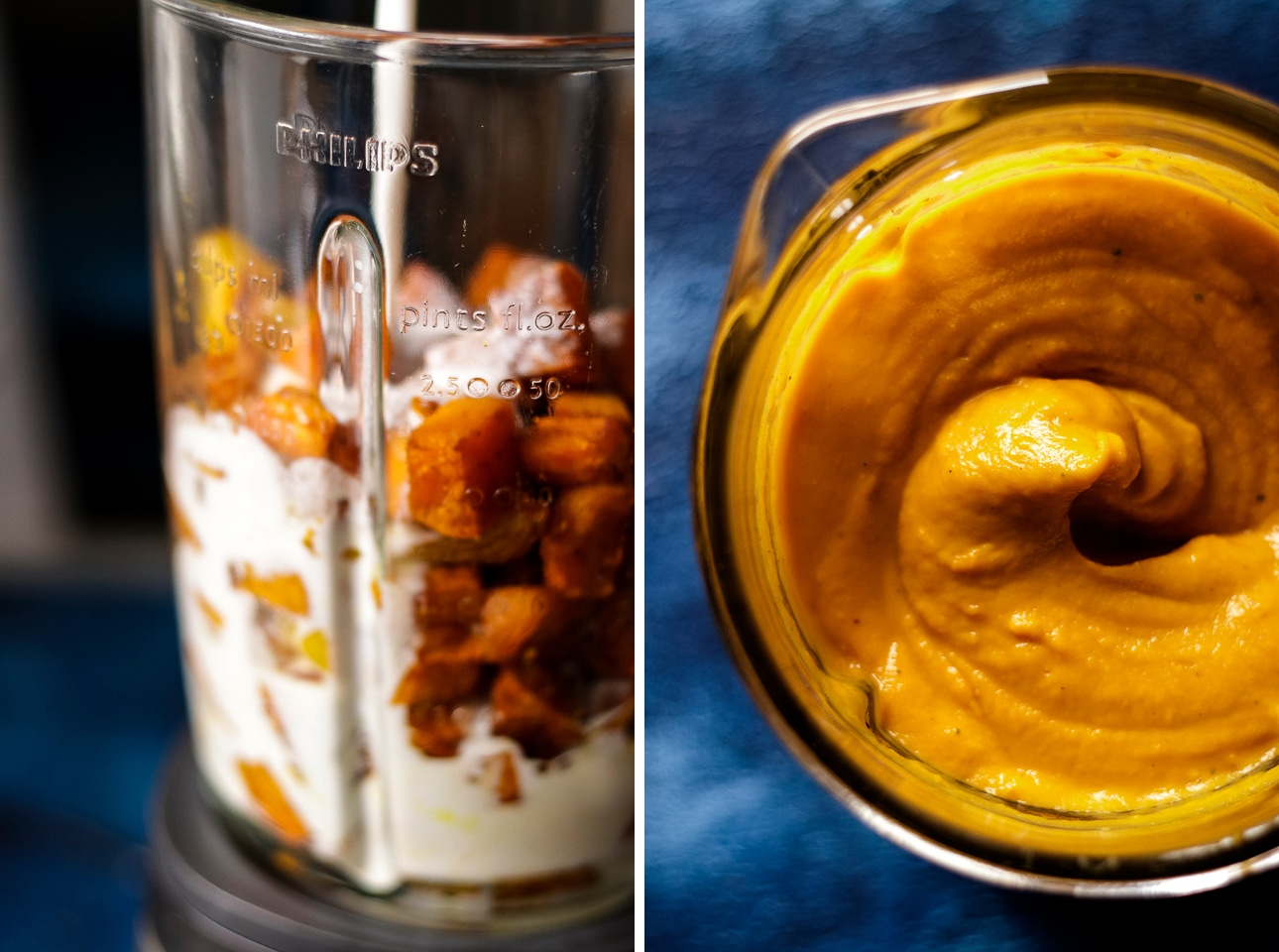 Roasted Sweet Potatoes with Coconut Milk in a Blender Before and After Blending