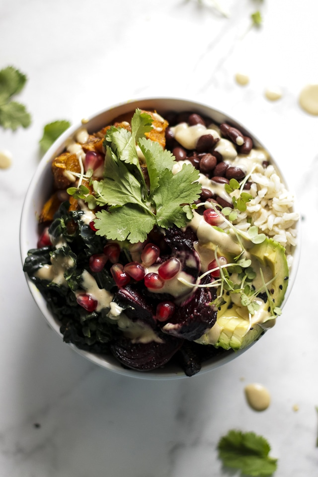 Mouthwatering closeup on the delicious Vegan Buddha Bowl on a marble table