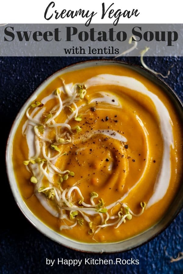 Vegan Sweet Potato Lentil Soup in a Bowl Pinterest