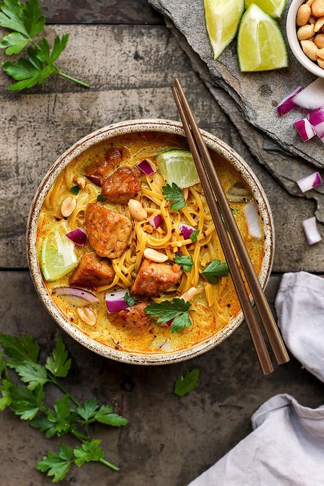 tempeh khao soi easy coconut noodles soup
