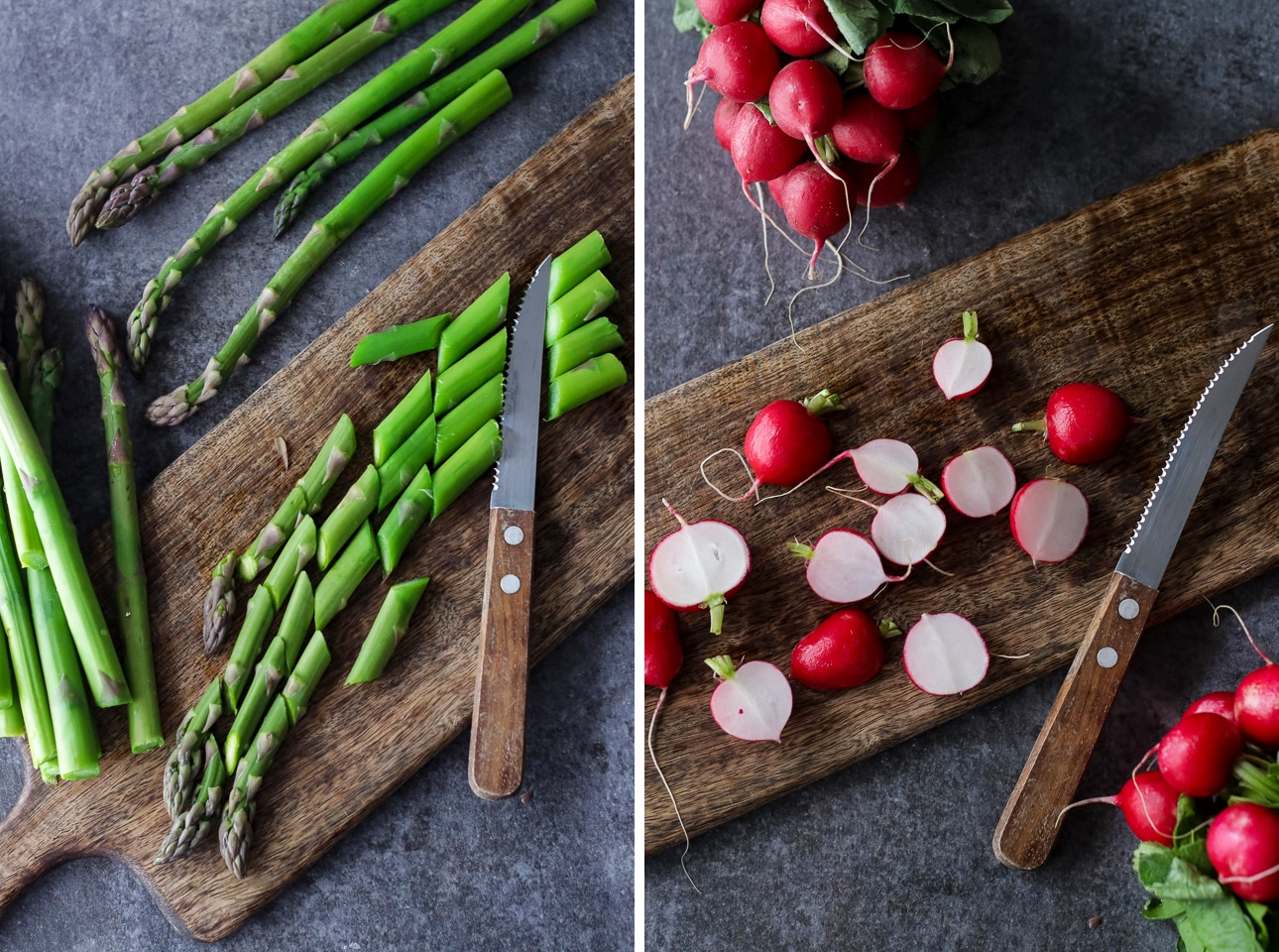 Cutting Asparagus and Radishes on a Wooden Board