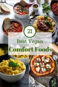 Vegan Comfort Food Recipes Pinterest Roundup Image Minestrone, Spaghetti Bolognese, Mac and Cheese and Vegan Pizza
