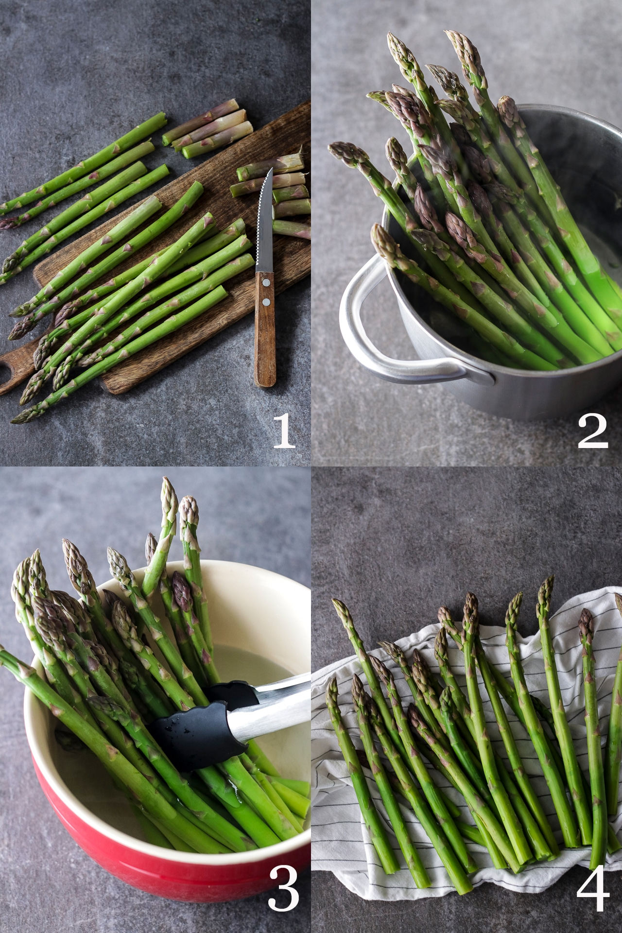 Trimming and Blanching Asparagus Collage