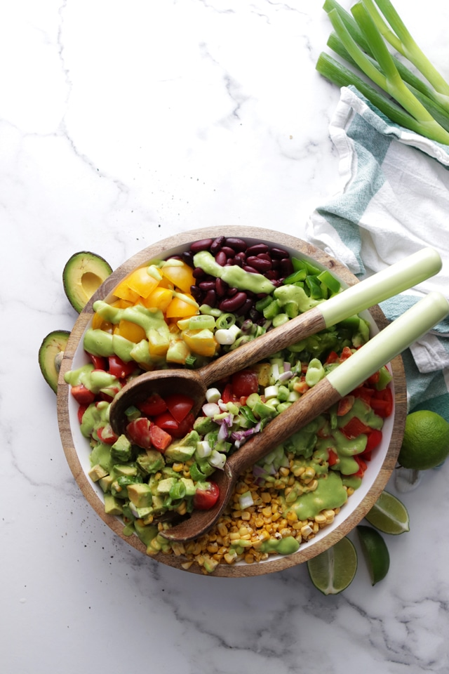 Mexican Salad in a Bowl with Utencils