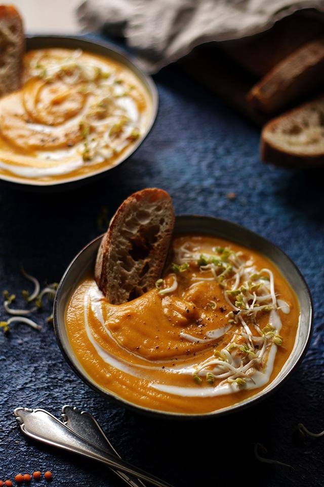 Sweet Potato Lentil Soup in a Bowl