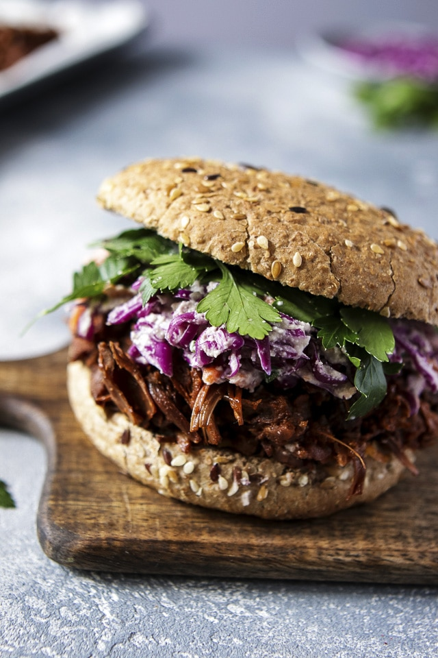Vegan Pulled Pork Sandwich with Coleslaw