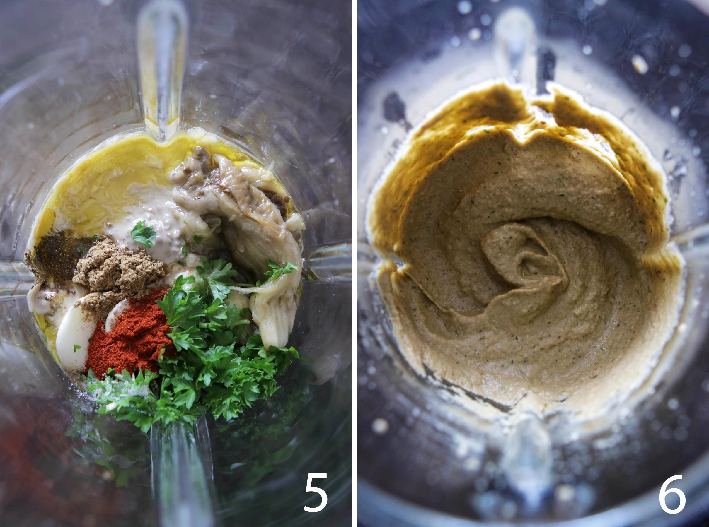 Blending all ingredients to make a delicious Baba Ganoush