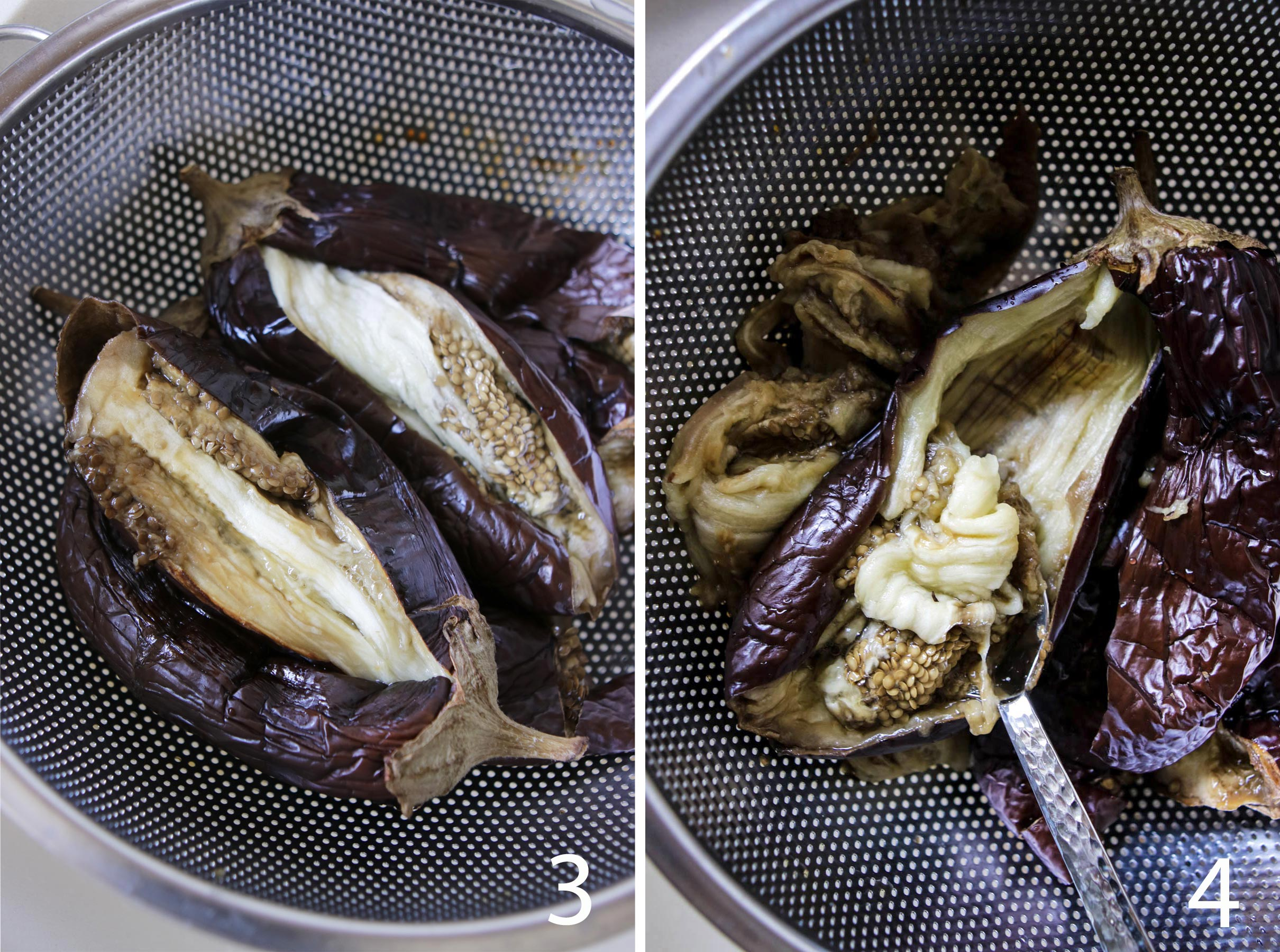 Draining and Scooping Rooasted Eggplants