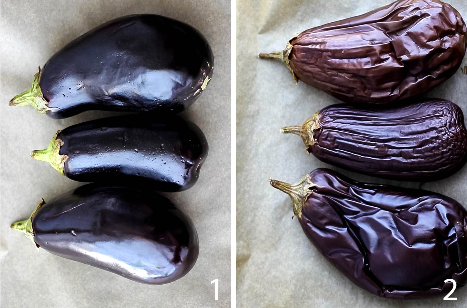 Three eggplants before roasting and three eggplants after roasting