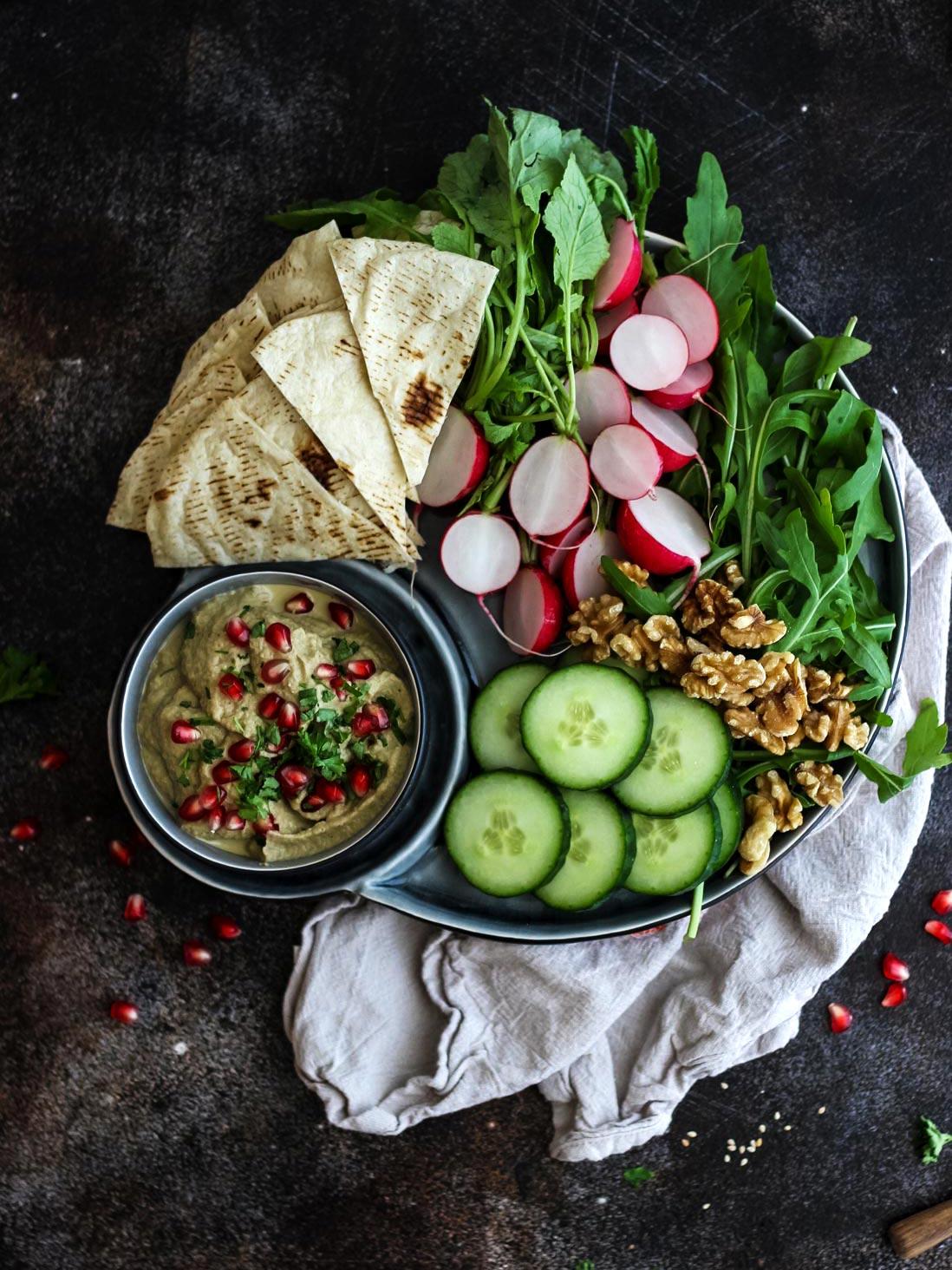 Veggie Plate with Vegan Eggplant Dip