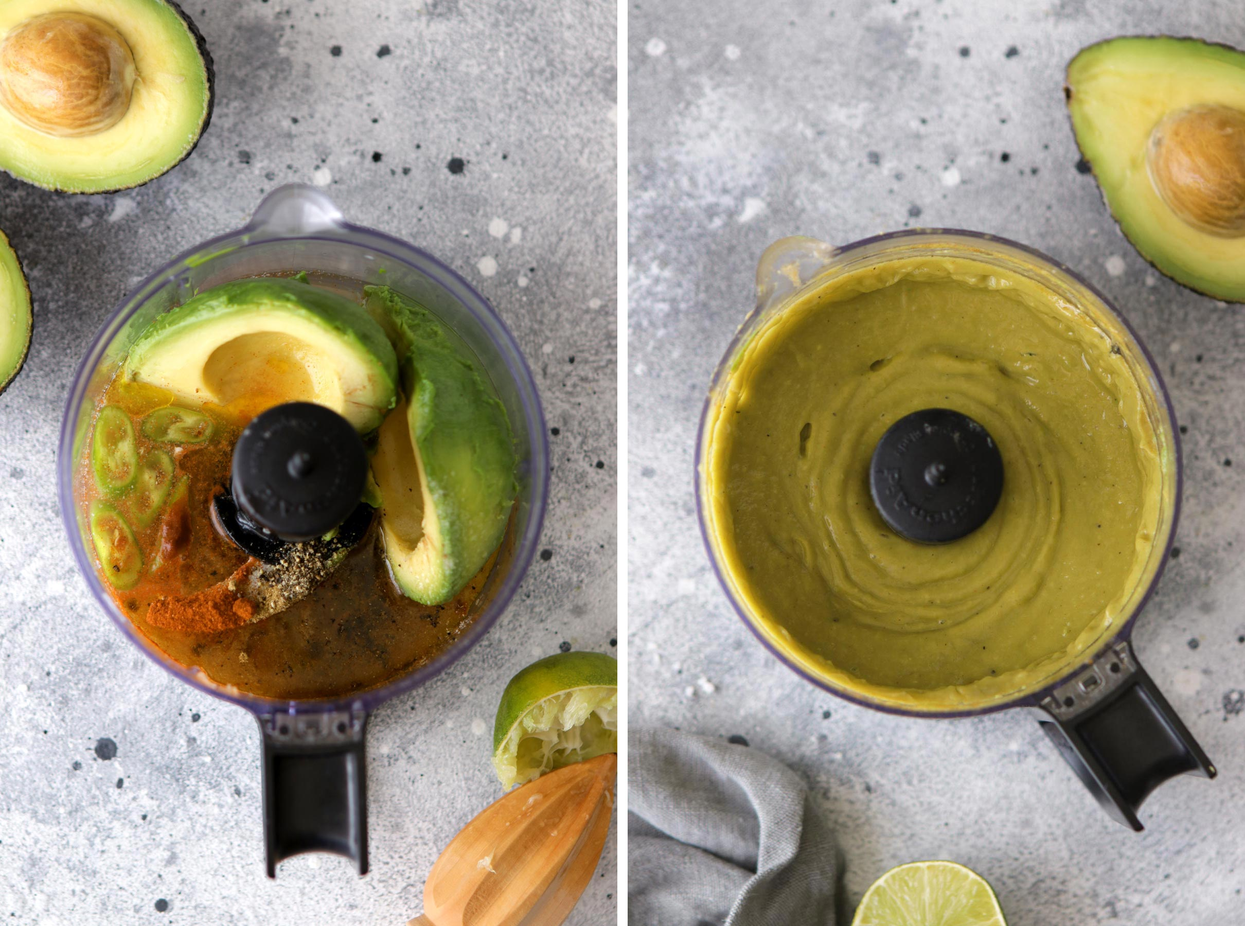 Avocado Sauce in a Blender Before and After Blending Collage
