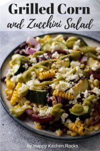 Grilled Corn and Black Bean Salad with Zucchini Pin