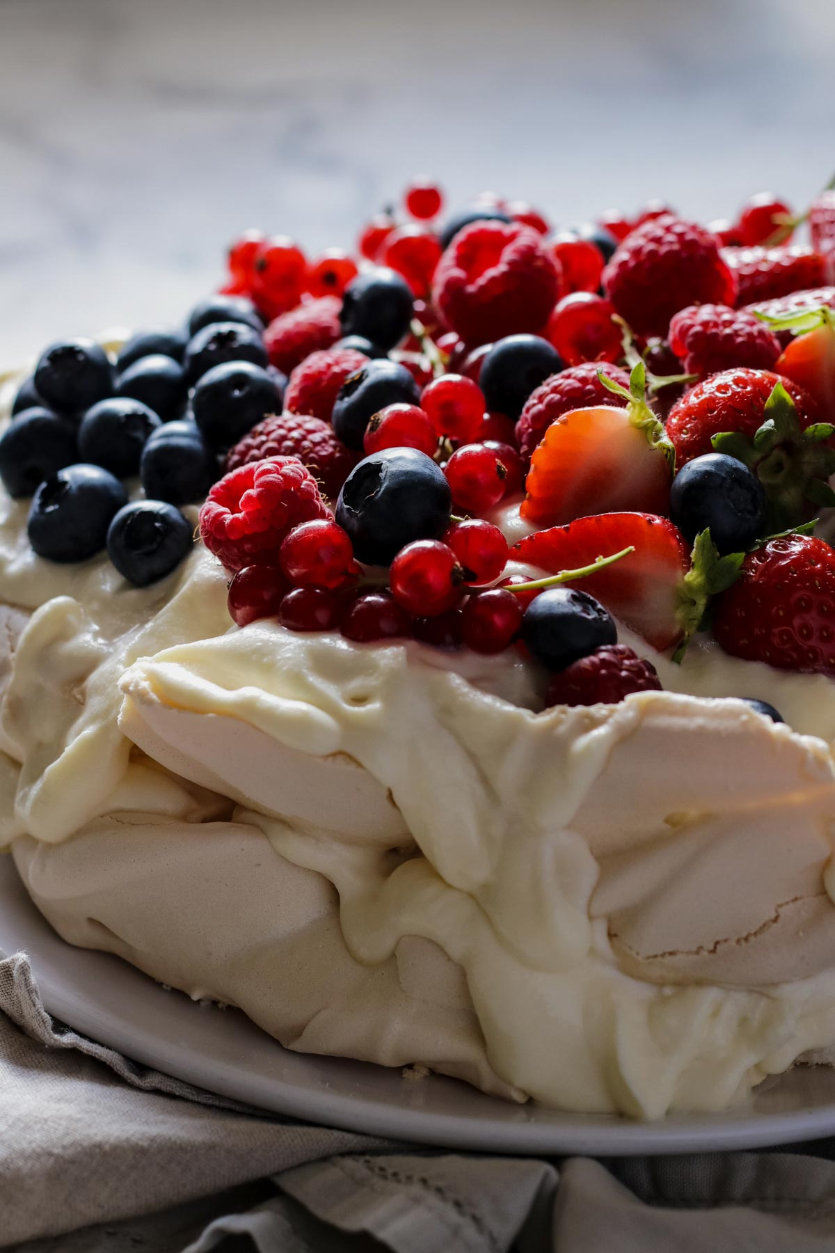 Pavlova with Berries Shot with Canon 100mm Lens
