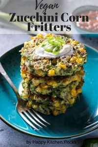 A stalk of vegan zucchini corn fritters Pinterest Image.