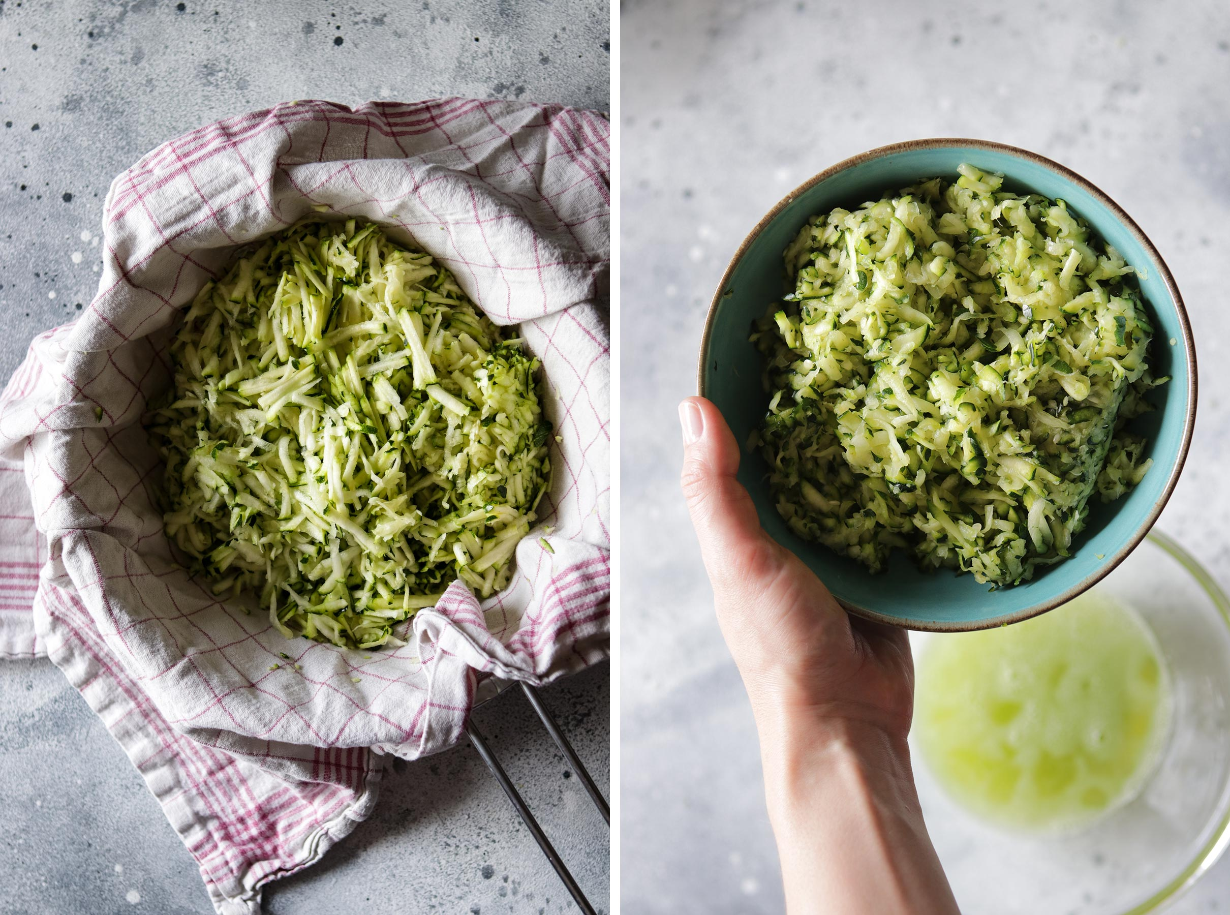 Grated Zucchini Before and After Squeezing