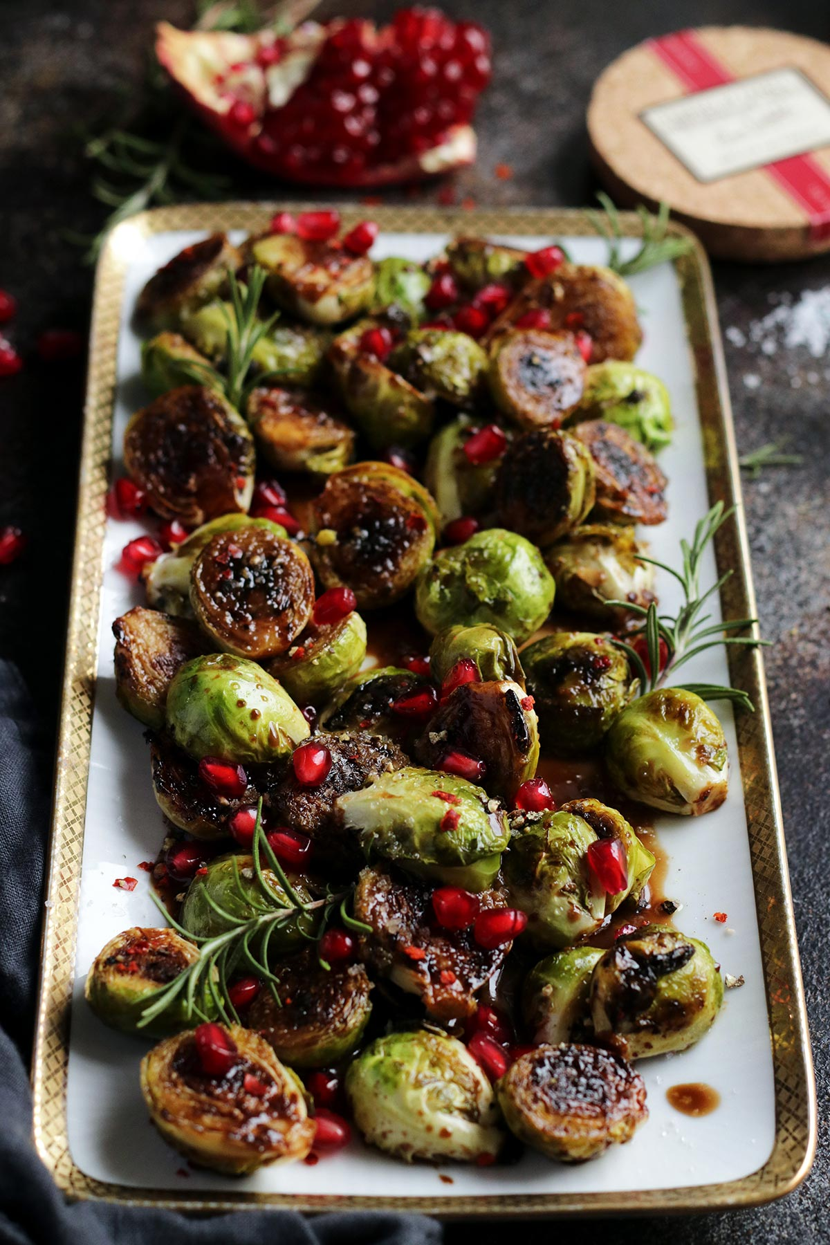 A Serving Dish with Brussels Sprouts.