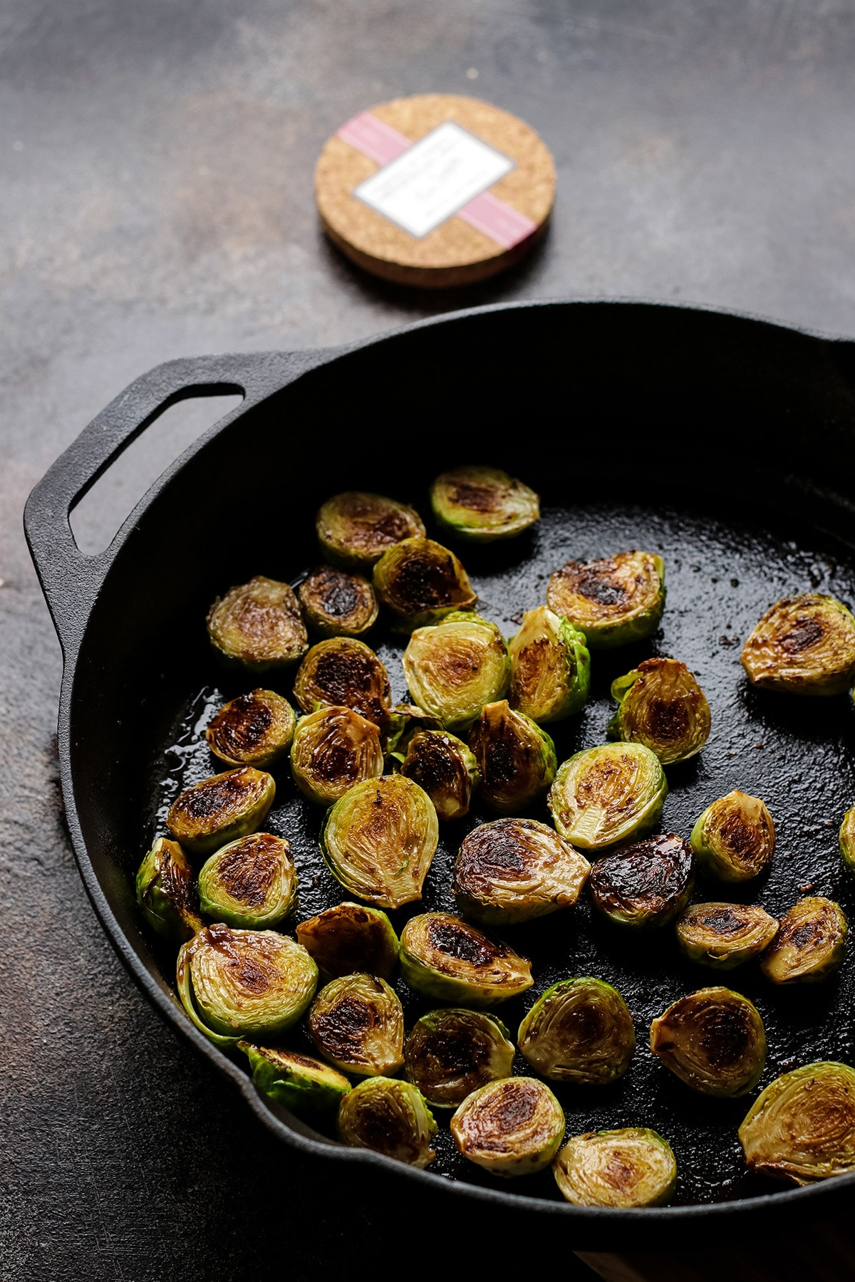Balsamic Glazed Brussels Sprouts in a Pan.