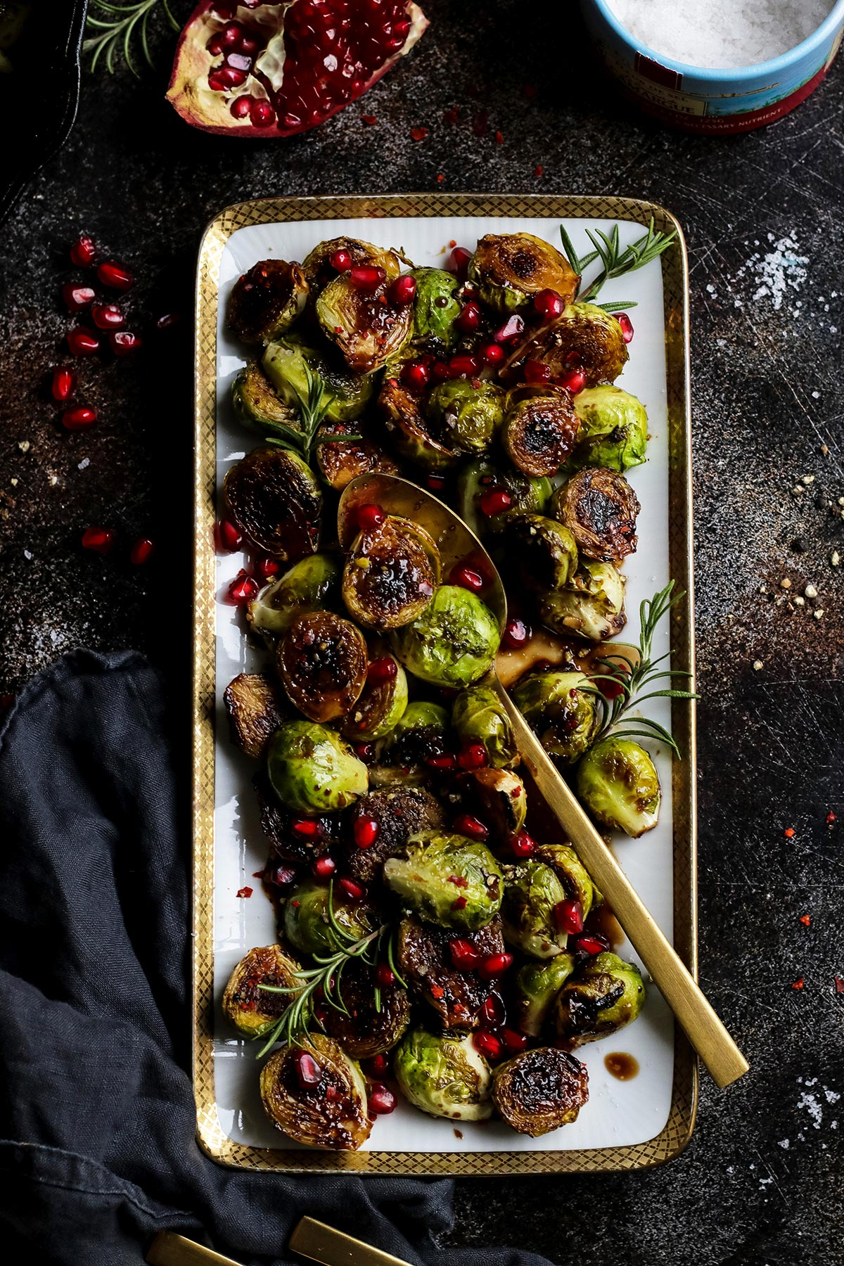 Balsamic Glazed Brussels Sprouts in a Rectangular Serving Dish.
