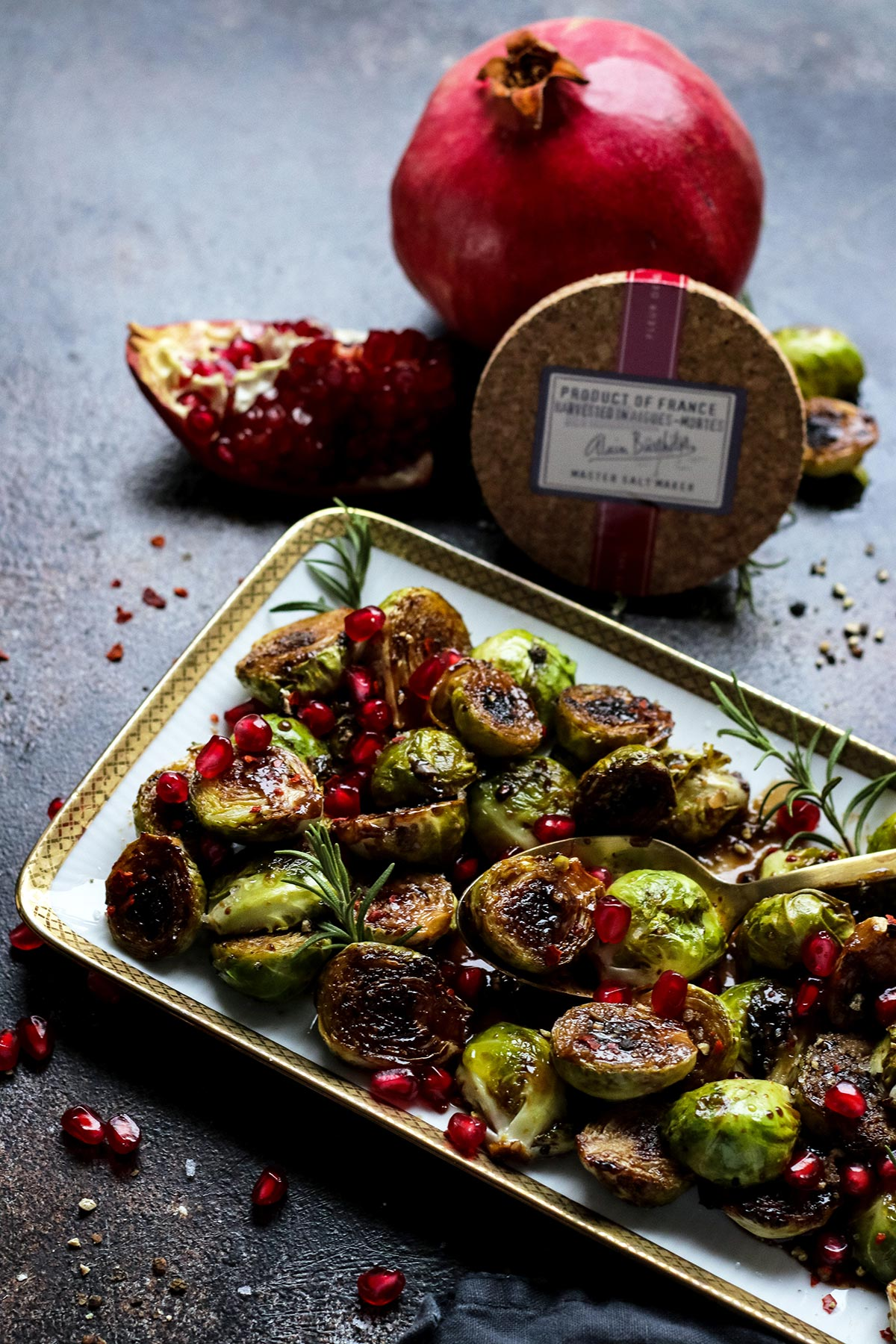 Brussels Sprouts with Pomegranate and Sea Salt.