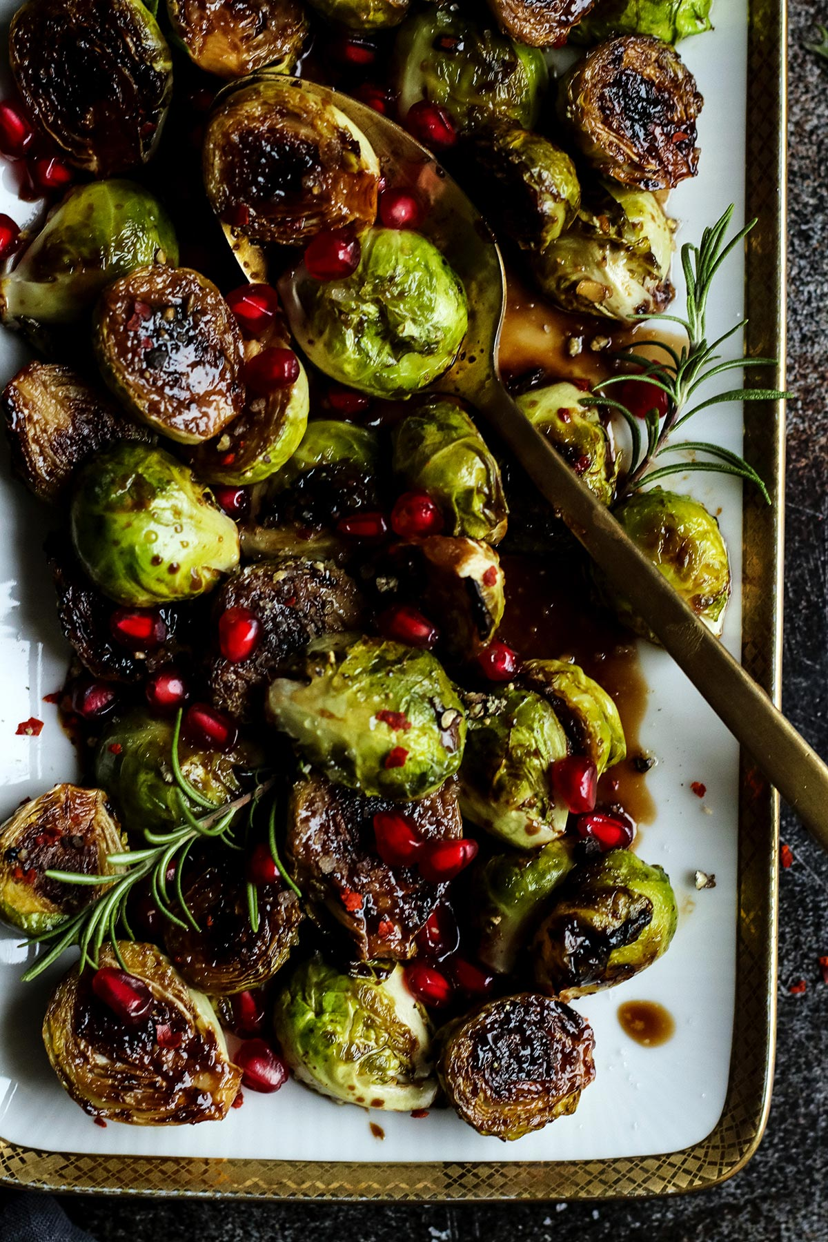 Closeup of a Vegan Holiday Brussels Sprouts Side Dish.
