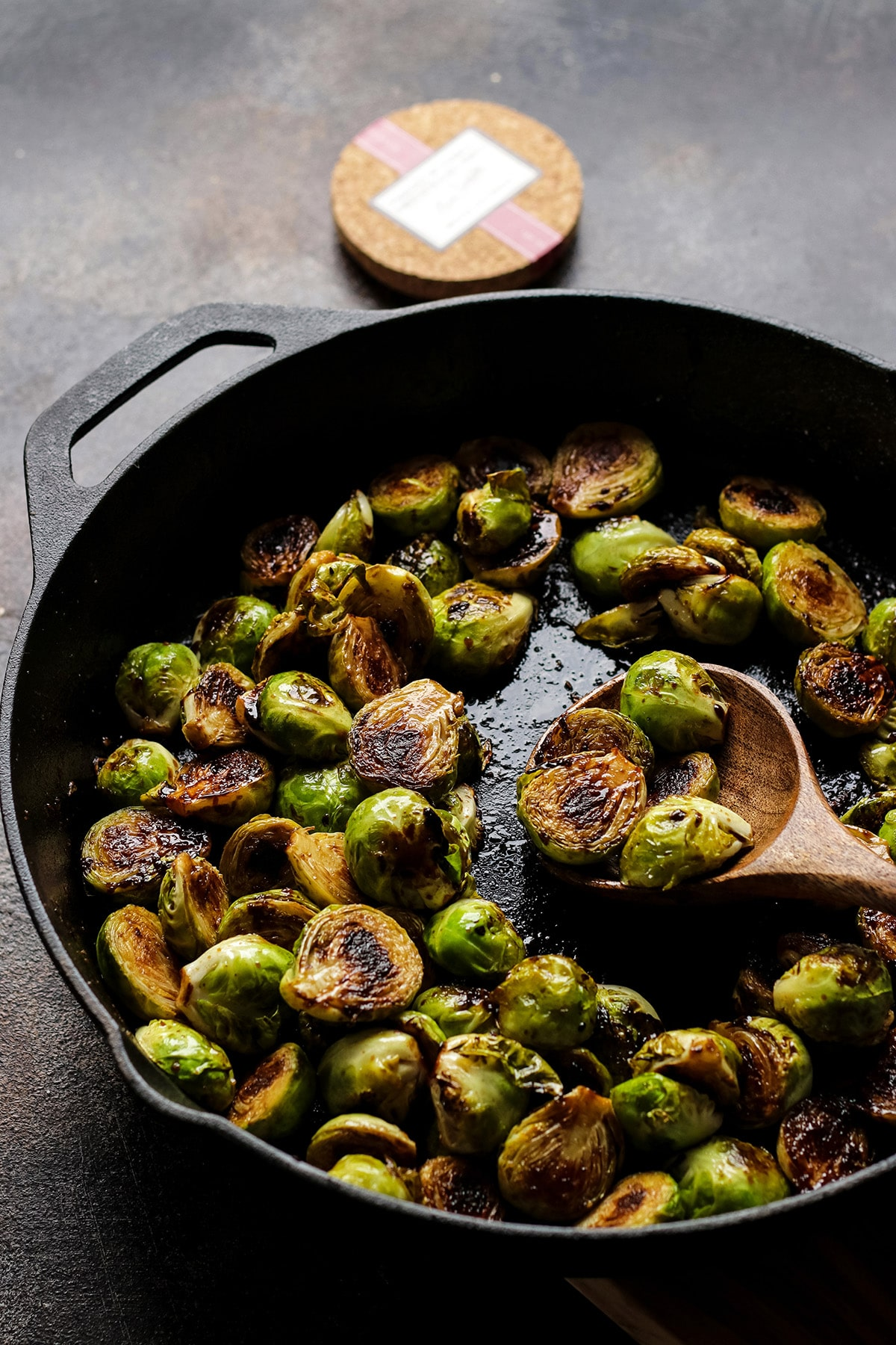 Glazed Brussels Sprouts in a Cast Iron Skillet.
