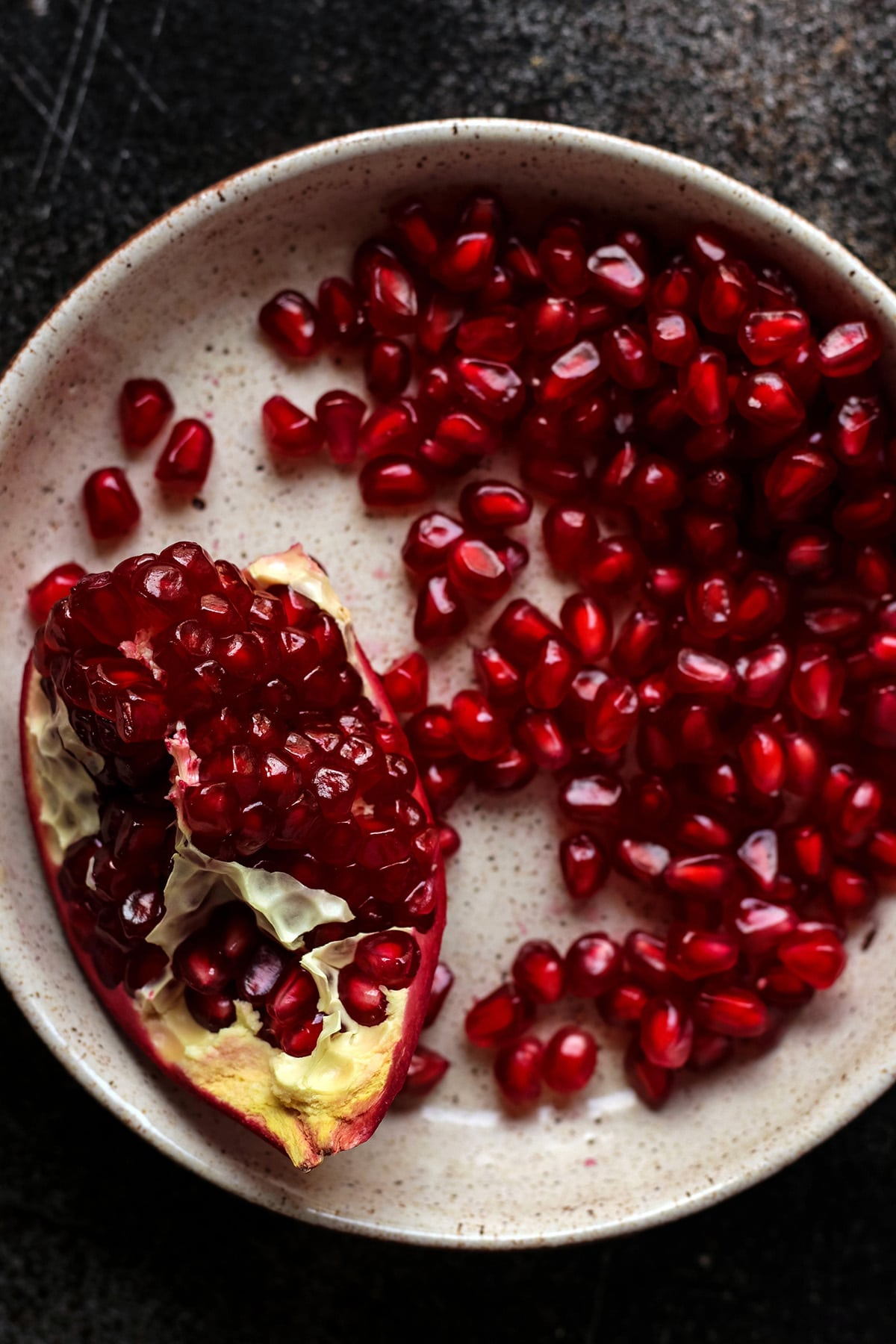 Pomegranate Seeds on a Plate.