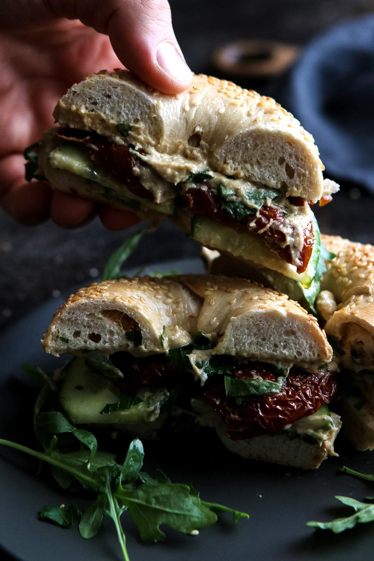 Vegan Bagel Sandwich Cut in Halves.