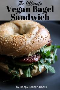 Vegan Bagel Sandwich Pinterest Pin.