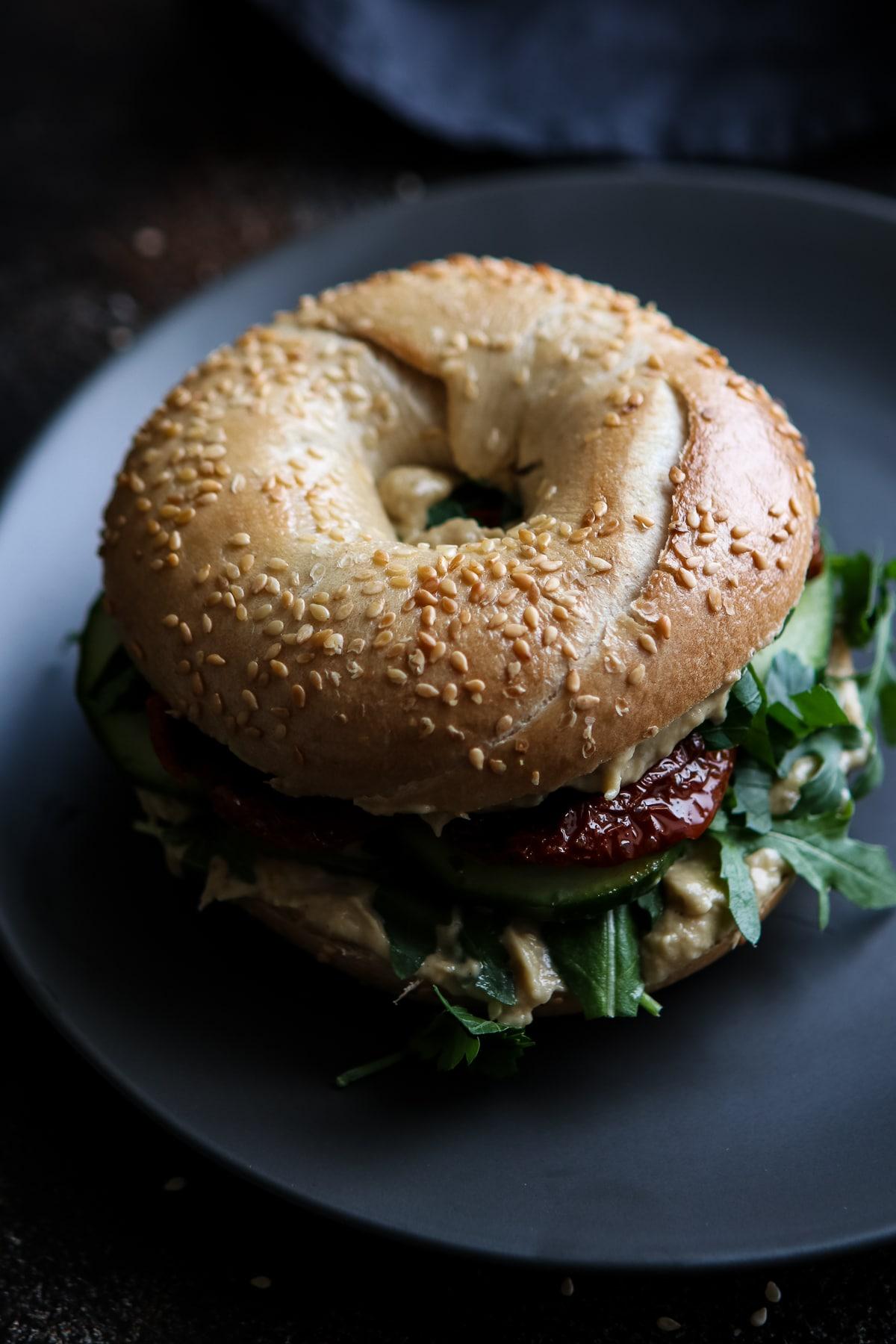 Vegan Bagel Sandwich Top View.
