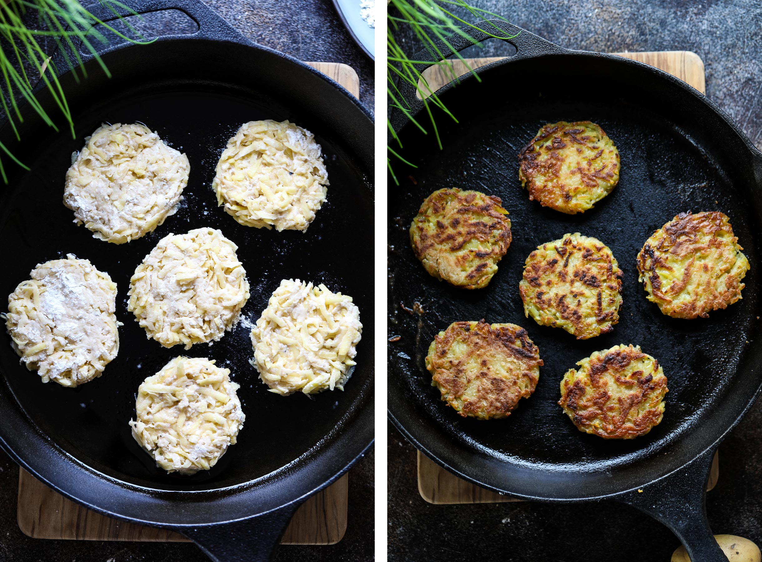 Frying Kartoffelpuffer on the pan.