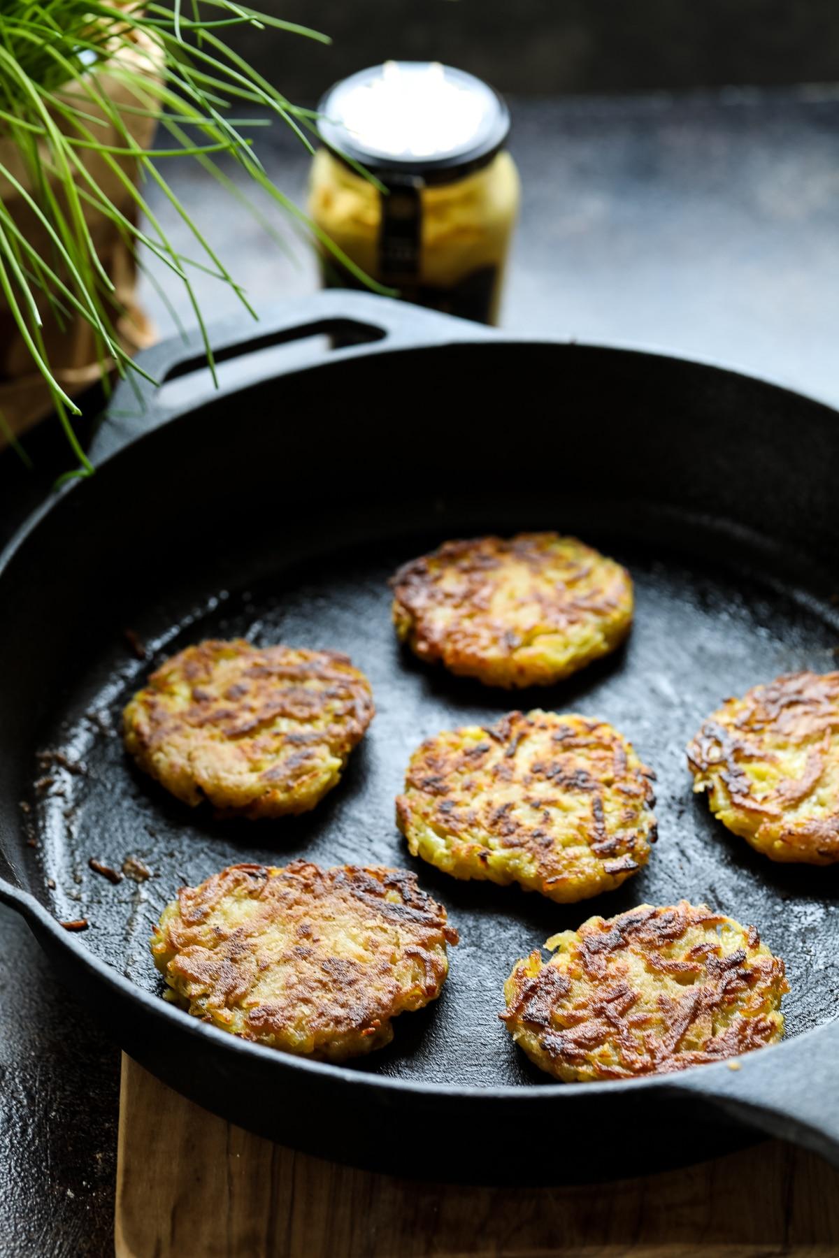 German Kartoffelpuffer on a Pan.
