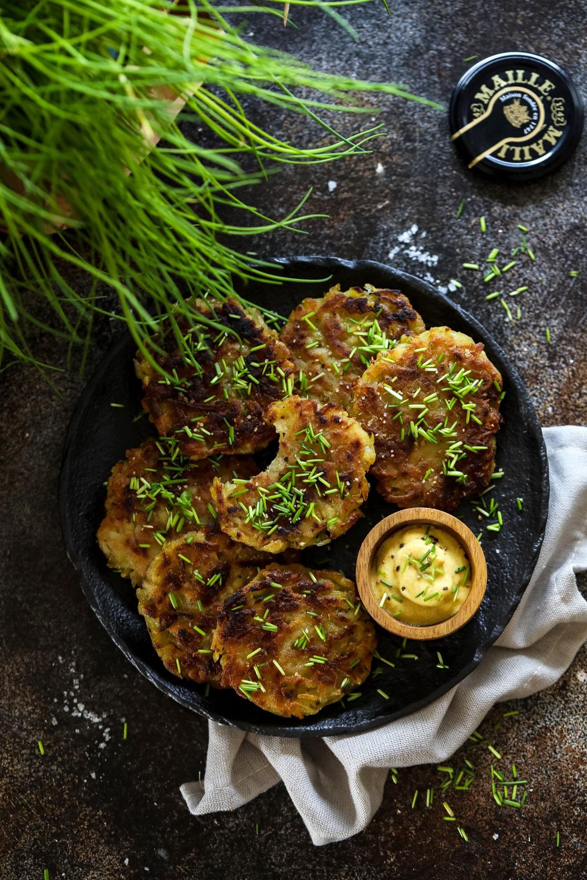 German Potato Pancakes with Mustard.