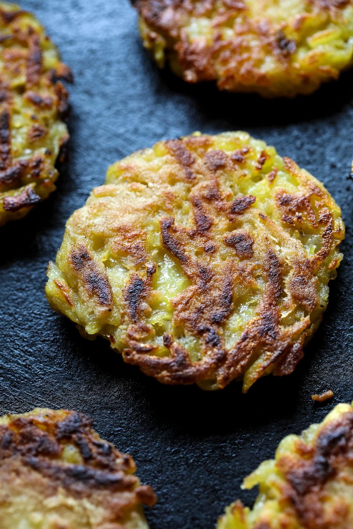 Vegan Potato Pancakes Closeup.